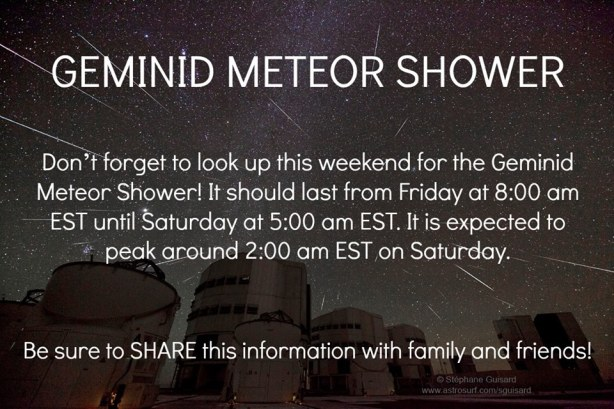 Don't forget! Geminid Meteor Shower this weekend!